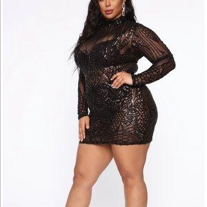 Fashion Nova Plus Black sequin dress